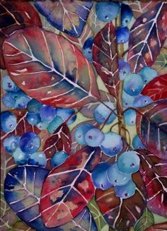 Colors ~ Red and Blue   Watercolor blueberry beauty