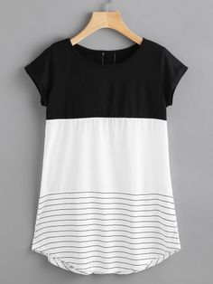 Women Casual Striped Regular Fit Round Neck Short Sleeve Black and White Longline Length Contrast Panel Lace Applique Striped Tee Look Fashion, Fashion Outfits, Womens Fashion, Fashion Black, Fashion Ideas, Stitch Fix Outfits, Cotton Style, Striped Tee, Lace Applique