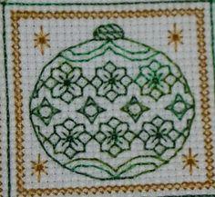 Blackwork Christmas Ornament by Storm's Stitches https://www.facebook.com/stormsblackwork