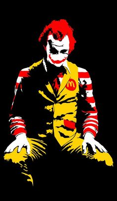 Ronald McDonald the Joker in disguise. The graffiti art of Banksy Pop-art Kenmerk; Graffiti Kunst, Stencil Graffiti, Stencil Art, Street Art Graffiti, Joker Stencil, Photos Joker, Scary Photos, Arte Banksy, Banksy Art
