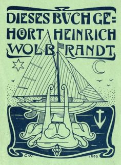 Bookplate by Karl Wolbrandt for Heinrich Wolbrandt, 1900