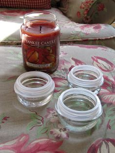 Sew Many Ways.Recycling Candle Jar Tops Sew Many Ways.Recycling Candle Jar Tops Sew Many Ways.Recycling Candle Jar Tops Sew Many Ways. Reuse Candle Jars, Yankee Candle Jars, Mason Jars, Jar Candle, Glass Candle, Old Candles, Jar Lids, Jar Crafts, Recycle Crafts