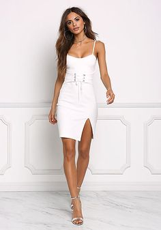 Ivory Built-In Corset Bodycon Dress