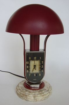 super ART DECO LAMP CLOCK MOFEM jazz ATO MACHINE AGE