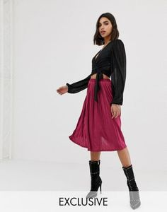 0377ea8d4361a Missguided exclusive pleated midi skirt in raspberry