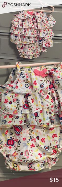 Baby [Cynthia Rowley] ruffle bubble Sweet print. Adorable on. Snaps in stride. Cynthia Rowley One Pieces