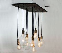 Urban Chandelier - Made from reclaimed plywood and recycled lamp parts