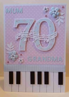 Personalised 70th Birthday Card. Vintage Florals. Piano.  Keyboard.  Handmade & hand crafted. I like to make my own embellishments and a lot of my cards are cut by hand