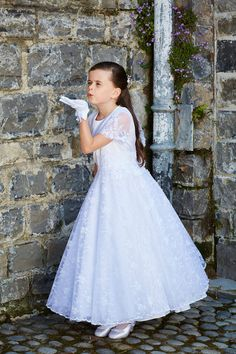 3cb83e0ee Vintage Lace First Communion Dress with Sleeves Full Circle Skirt -  Isabella - - Cassie - Princess Communion Dress - Girls First Holy