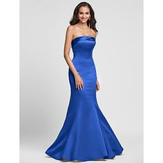 Lanting+Bride®+Floor-length+Satin+Lace-up+Bridesmaid+Dress+-+Trumpet+/+Mermaid+Strapless+Plus+Size+/+Petite+with+Side+Draping+–+USD+$+59.99
