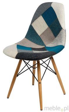 Kreatywne krzesło P016W tap. niebiesko szary, Dkwadrat - Meble, 399zł