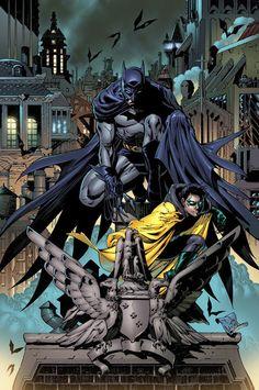 Tony Daniel Art: Dick Grayson and Damien Wayne as Batman and Robin. Im Batman, Batman Robin, Superman, Batman Stuff, Marvel Comics, Arte Dc Comics, Nightwing, Batgirl, Gotham