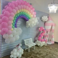 Baby Girl Birthday Theme, Care Bear Birthday, Unicorn Themed Birthday Party, 2nd Birthday Party Themes, Rainbow Birthday Party, Unicorn Party, Birthday Party Decorations, First Birthday Parties, Balloons