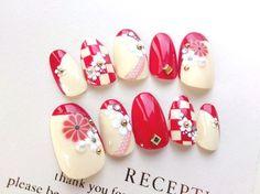 和柄★あざやかレッド市松模様とお花のネイルチップ・お着物、振り袖にも◆441