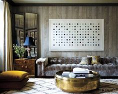 Jackie Astier's Manhattan Apartment  This velvet chesterfield couch!!