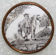 ca 1770 black and white enamel hunting scene enamel button. Cool Buttons, Vintage Buttons, Button Art, Button Crafts, Through The Looking Glass, Sewing A Button, Vintage Sewing, 18th Century, Museum