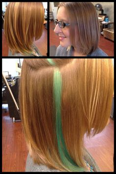 Turquoise peekaboo medium length layered blonde bob done by Akisha's Hair Design at Star Image in Tulsa, Oklahoma