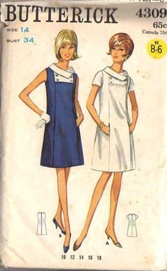 Retro Sewing Vintage Mod A Line Shift Dress, Self Yoke with Button Trim Dress Sewing Pattern Butterick 4309 S - Butterick Sewing Pattern Robes Vintage, Vintage Dresses, Vintage Outfits, 60s Dresses, Shift Dresses, Vintage Clothing, Vintage Dress Patterns, Clothing Patterns, 60s And 70s Fashion