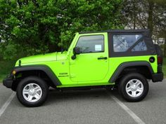 sublime green jeep!  i want this to be my car!  you should go on google and type in neon green (and see the google suggestions)