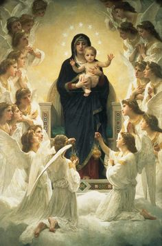 off Hand made oil painting reproduction of Regina Angelorum, one of the most famous paintings by William-Adolphe Bouguereau. William-Adolphe Bouguereau painted Regina Angelorum, one of his iconic paintings in only five . William Adolphe Bouguereau, Blessed Mother Mary, Blessed Virgin Mary, Queen Mother, Mother Art, Divine Mother, Mother Teresa, Catholic Art, Religious Art