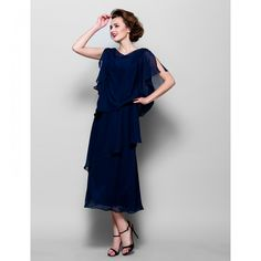 A-line Cowl Tea-length Chiffon Mother of the Bride Dress