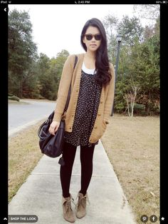 Like the idea of wearing a spring dress in fall with a cardigan, tights and shirt