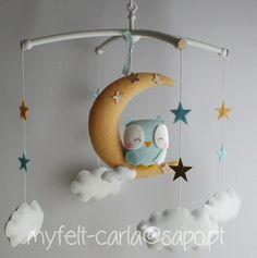 Mobil Eule, Baby-Mobil - Mond-Mobil - Babybett Mobil - Owl Mobil - Baby Mobil Wolken, Kindermobildekor , Geschenk, Geburt Liste