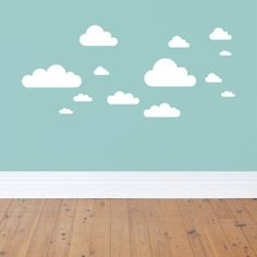 Clouds A really simple nursery decor idea. White clouds look great on a coloured wall. Sheet Size: 510 x Includes+ Clouds x Largest x Smallest x Made in Australia by 41 Orchard. Wall Stickers Uk, Disney Wall Decals, Bedroom Stickers, Kids Wall Decals, Nursery Wall Decals, Wall Decal Sticker, Art Wall Kids, Boys Room Decor, Kids Room