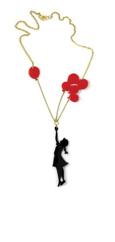 Red & black plexiglass (perspex) necklace, Girl with baloons, gold plated chain. $59.00, via Etsy.