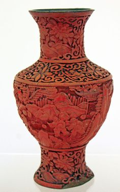 Antique Chinese Cinnabar Vase Very Detailed, Figures, Lotus Flowers #Unknown
