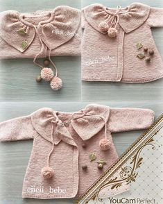 This Pin was discovered by GÜL Baby Knitting Patterns, Baby Sweater Patterns, Knitting For Kids, Baby Patterns, Free Knitting, Crochet Jumper, Knitted Baby Cardigan, Knit Crochet, Baby Girl Sweaters