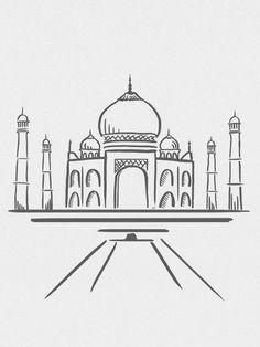 Line # line - Zeichnung Cool Art Drawings, Pencil Art Drawings, Art Drawings Sketches, Easy Drawings, Taj Mahal Dibujo, Taj Mahal Drawing, Taj Mahal Sketch, Pen Art, Doodle Art
