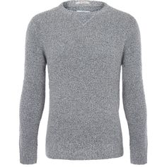 Gant Rugger Grey Boucle Knit Cotton Jumper (1.685 ARS) ❤ liked on Polyvore featuring men's fashion, men's clothing, men's sweaters, men, thomas donnelly, men's crewneck sweaters, mens grey sweater, mens jumpers, mens crew neck sweaters and mens cotton cable knit sweater