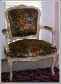 floral cloth county french chairs | chintz covered french chair by leah french
