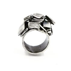 "Contemporary Jewelry: Sterling silver ""Stacked"" ring"