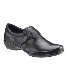 ed46f2211355 Aetrex Black Kelly Single-Strap Slip-On Leather Loafer