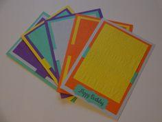Embossed Happy Birthday Card Set 5pk by MegansPaperCreations, $14.25