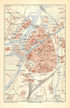 1905 Original Antique City Map of Metz