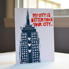 I know, I know, this is way overdue! New Yorkers, mail these to your groovy West Coast friends and ruffle their feathers! This card shows off the