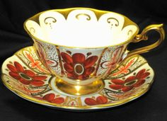 ROYAL ALBERT ORANGE POPPY GOLD PAINTED WIDE TEA CUP AND SAUCER