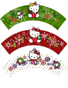 Hello Kitty for Christmas: Free Printable Cupcake Wrappers. Navidad Hello Kitty, Hello Kitty Crafts, Hello Kitty Christmas, Hello Kitty Cake, Hello Kitty Birthday, Christmas Ornaments To Make, Christmas Cupcakes, Merry Christmas, Christmas Time