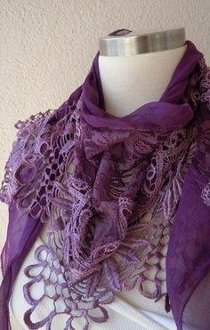 PurpleLila ScarfSHAWL TasselLace Edge2012 by WomanScarves on Etsy. $18.90 USD, via Etsy.  Purple lacy lovelyness
