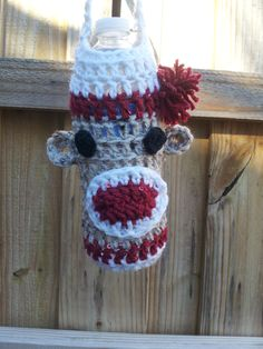 HANDCRAFTED SOCK MONKEY WATER BOTTLE DRINK CAN CARRIER/COVER