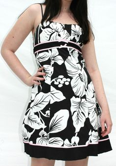 Get it at Bad Reputation! Ruby Rox Black White Pink #Floral Print #Cotton #SunDress - Size 7, Above Knee  #RubyRox #Sundress #Casual #SummerDress #Vacation
