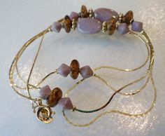 Vintage Gold Tone Link Chain w/Glass Beads. by Bestintreasures on Etsy