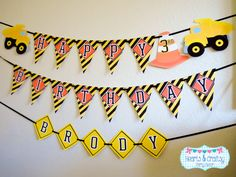 Construction Birthday Party Happy Birthday Banner / Dump Truck Party by HeartsandCraftsy