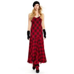 Plaid Silk V-Neck Maxidress - Polo Ralph Lauren Maxi Dresses - RalphLauren.com