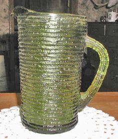 "Vintage Sereno 6 1/2"" Avocado Green Glass Juice Pitcher - Anchor Hocking"