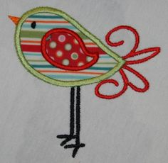 Bird applique design in 4x4 and 5x7 by TheItch2Stitch on Etsy, $4.00
