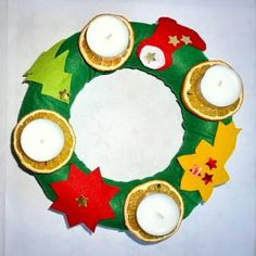 Weihnachten/basteln-Adventskranz-Filz-Teelichter-Orangenscheiben